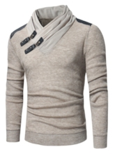 SlimHeap Collar Patchwork Men's Sweater