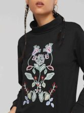 High Neck Floral Embroidery Women's Sweatshirt
