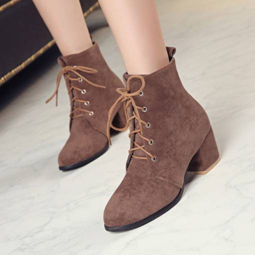 Round Toe Chunky Heel Lace-Up Front Plain Women's Ankle Boots