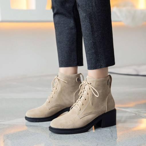 Round Toe Lace-Up Front Chunky Heel Casual Martin Boots