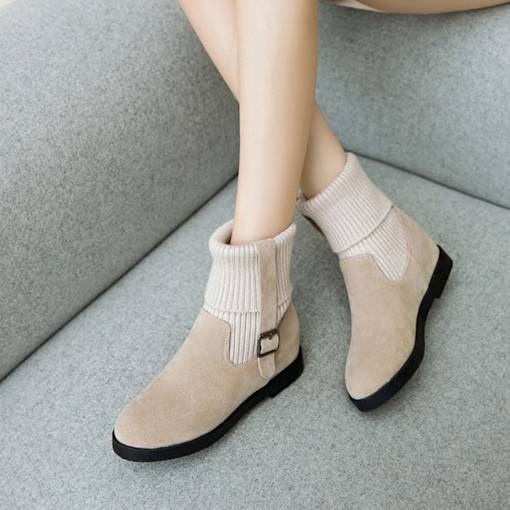 Round Toe Slip-On Buckle Elevated Women's Ankle Boots