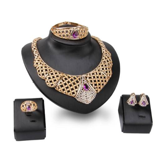 Vintage Violet Gem Decorated Gold-Plated 4-Piece Jewelry Set
