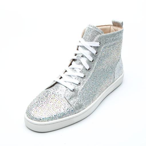 Lace-Up Round Toe High Top Rhinestone Glitter Men's Sneakers