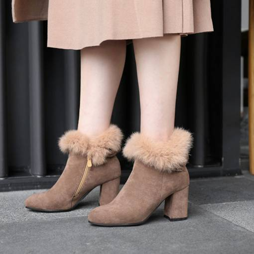 Round Toe Side Zipper Suede Chunky Heel Casual Women's Ankle Boots