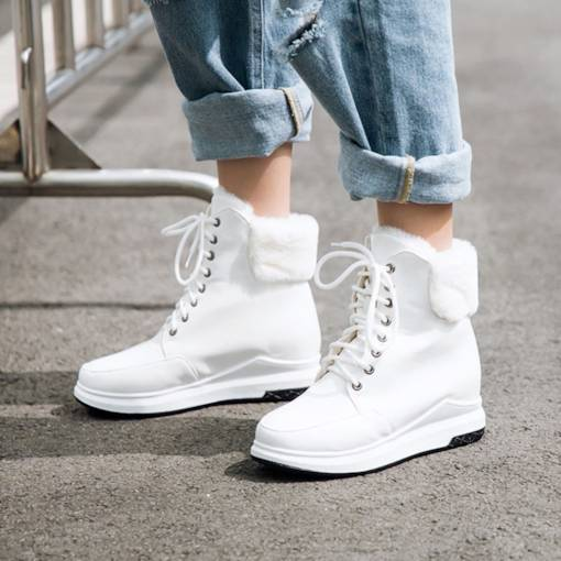 Round Toe Lace-Up Front Wedge Heel Women's Snow Boots