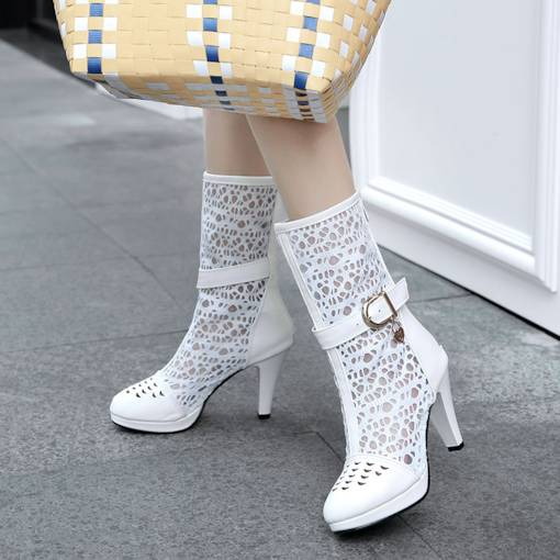 Round Toe Back Zip Chunky Heel Mesh Hollow Buckle Fashion Boots