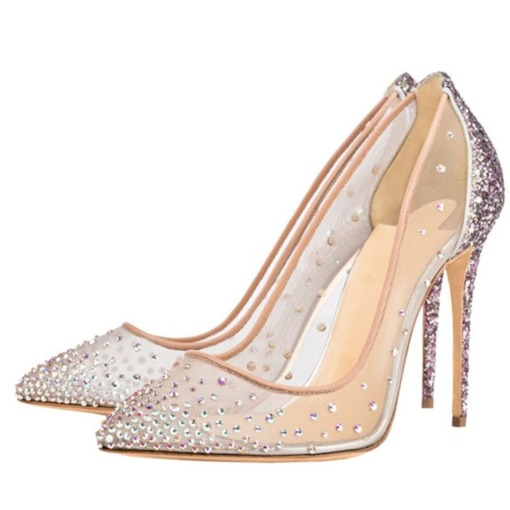 Mesh Stiletto Heel Pointed Toe Rhinestone Glitter Women's Prom Shoes