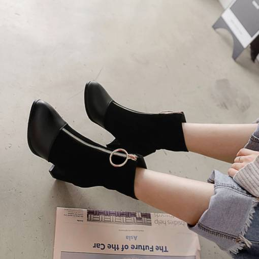 Round Toe Back Zip Chunky Heel Patchwork Casual Women's Ankle Boots