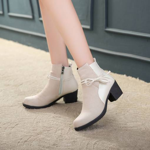 Chunky Heel Round Toe Side Zipper Bow Casual Women's Ankle Boots