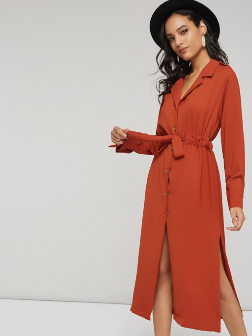Notched Lapel Single-Breasted Women's Long Sleeve Dress