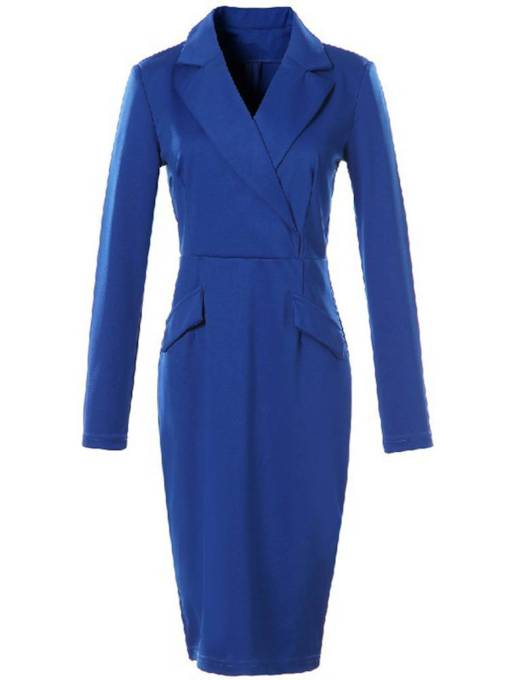 Notched Lapel Pocket Women's Long Sleeve Dress