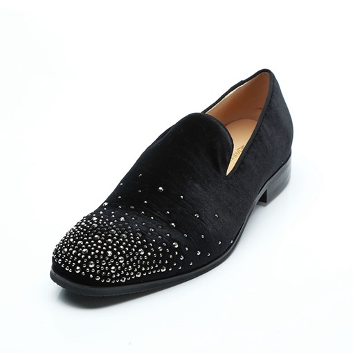 Round Toe Suede Rhinestone Slip-On Customized Men's Oxford