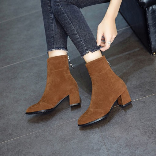 Round Toe Back Zip Chunky Heel Casual Women's Ankle Boots