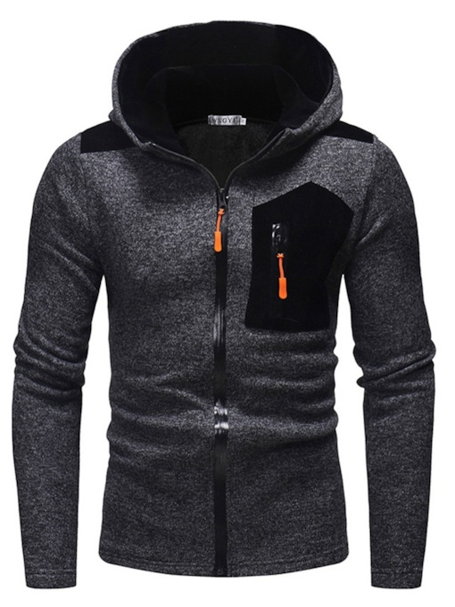 SlimZipper Patchwork Fleece Men's Hoodie