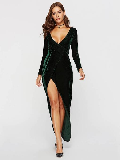 Long Sleeves V-Neck Split Women's Maxi Dress