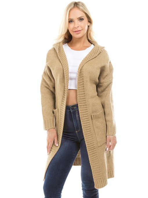 Plain Open Front Solid Color Women's Hooded Cardigan