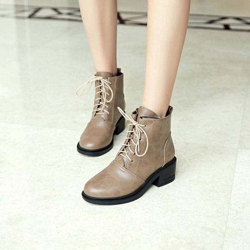 Round Toe Lace-Up Front Chunky Heel Plain Women's Martin Boots