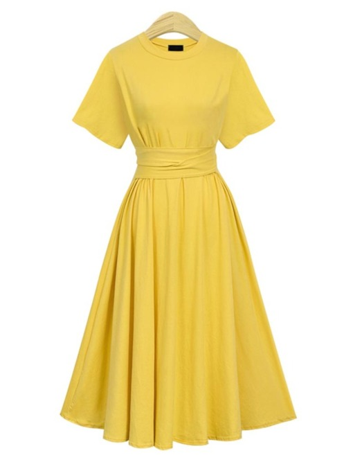 Round Neck High Waist Elegant Day Dress