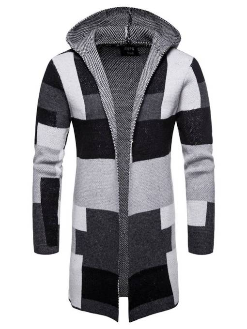 Hooded Loose Color Block Mid-Length Men's Sweater