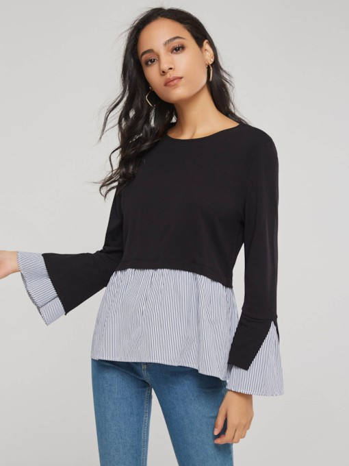 Flare Sleeve Double-Layer Peplum Women's Blouse