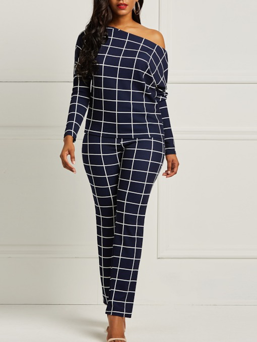 Plaid Print T-Shirt Wide Legs Pants Women's Two Piece Sets