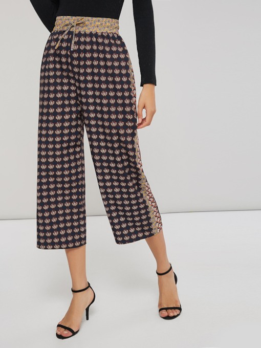 Geometric Print Lace-Up Women's Wide Legs Pants