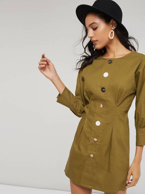 Single-Breasted Pleated Women's Day Dress