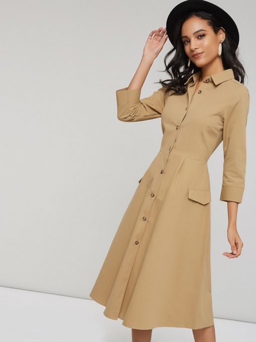 Polo Neck Single-Breasted Women's Long Sleeve Dress