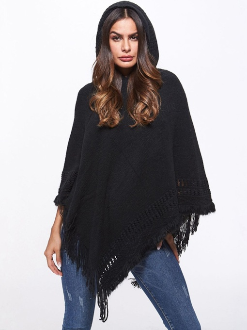 Plain Tassel Pullover Women's Knitted Cape