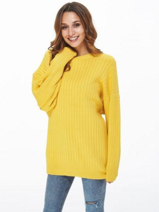 Plain Mid Length Scoop Neck Pullover Women's Sweater