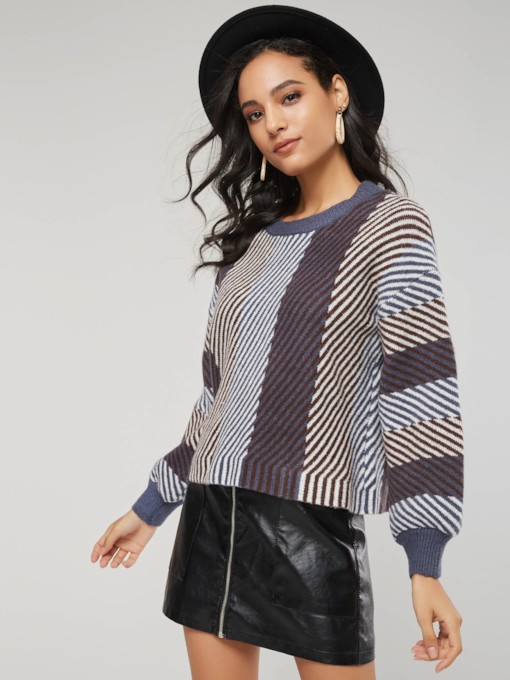Lantern Sleeve Color Block Scoop Neck Women's Sweater