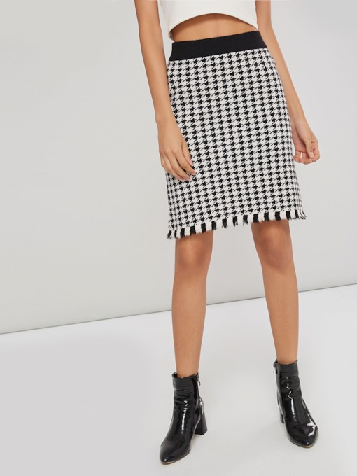 Raw Edge Houndstooth Bodycon Women's Skirt
