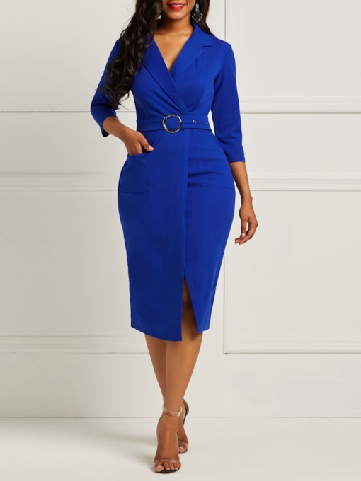 Split Half Sleeve Lapel Women's Bodycon Dresse