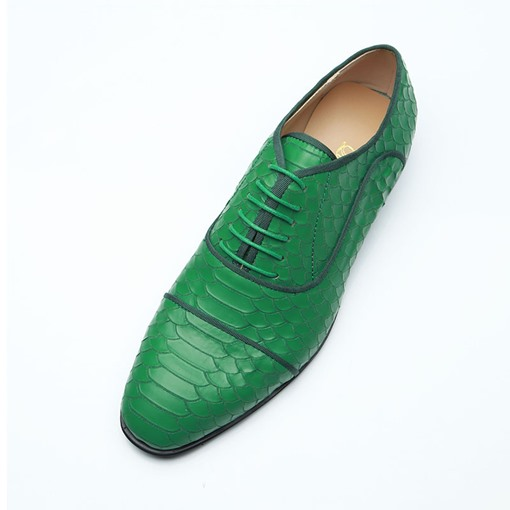 Round Toe Lace-Up Professional Unique Green Men's Oxford