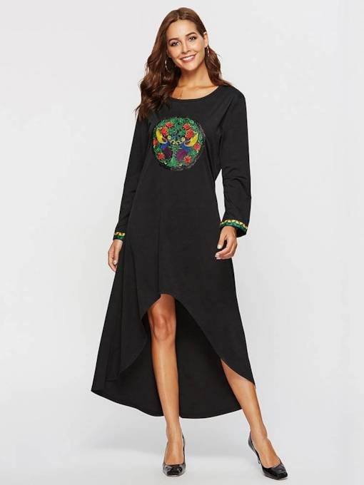 Asymmetric Embroidery Long Sleeves Women's Maxi Dress