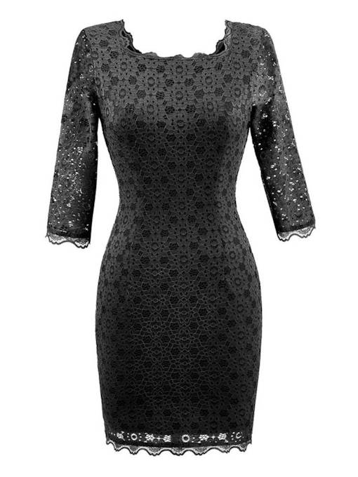 Lace 3/4 Length Sleeves Women's Sheath Dress