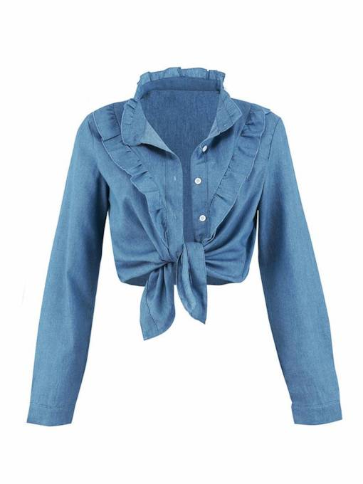 Frilled Tie Front Stand Collar Single-Breasted Women's Shirt