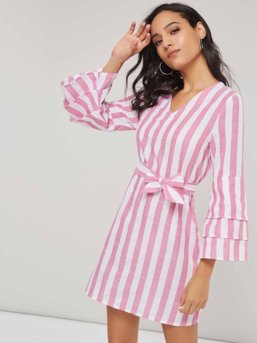 Stripe Bowknot V-Neck Women's Long Sleeve Dress
