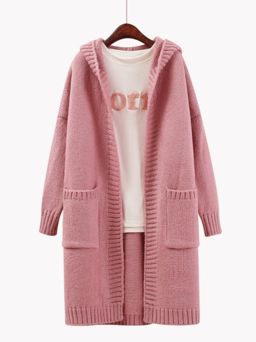 Plain Double Pocket Mid Length Women's Hooded Cardigan