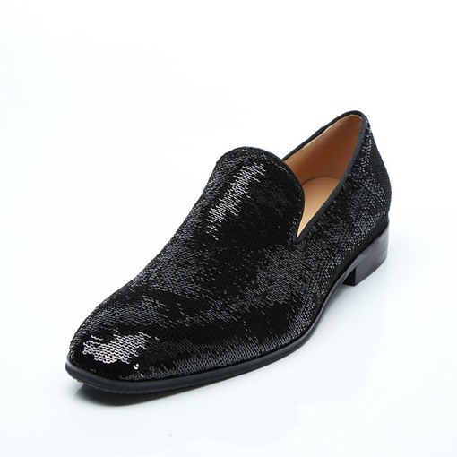 Round Toe Slip-On Sequin Sparkly Men's Prom Shoes