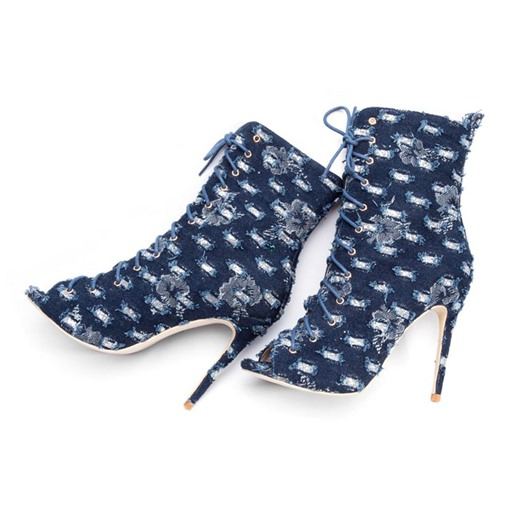 Stiletto Heel Hollow Worn Canvas Peep Toe Lace-Up Front Ankle Boots