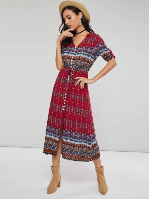3/4 Length Sleeves Single-Breasted Women's Maxi Dress