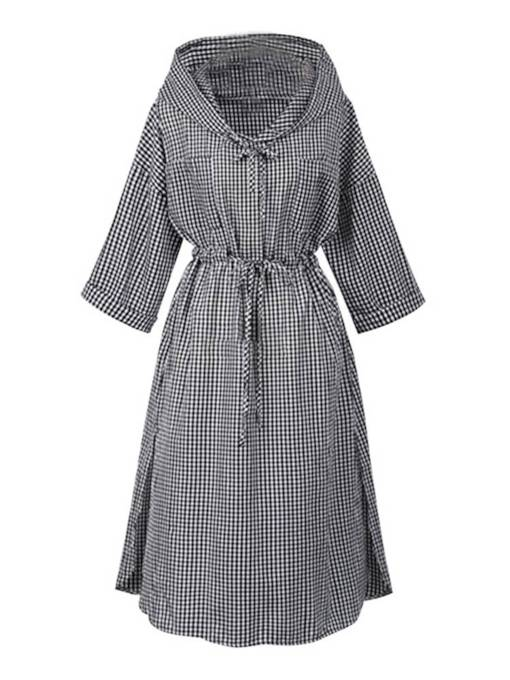 3/4 Length Sleeves Lace-Up Women's Day Dress