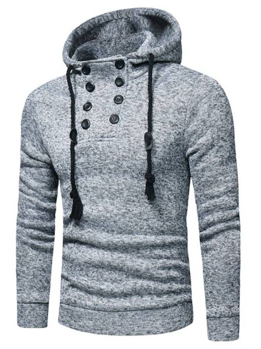 SlimPullover Buttons Plain Fleece Men's Hoodie