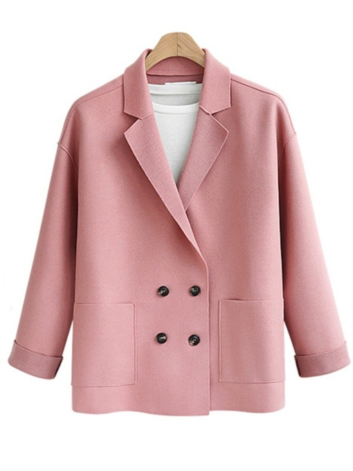 Candy Color Double-Breasted Notched Lapel Women's Blazer