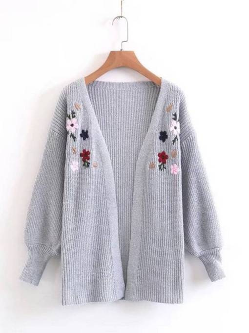 Floral Embroidery Lantern Sleeve Women's Cardigan