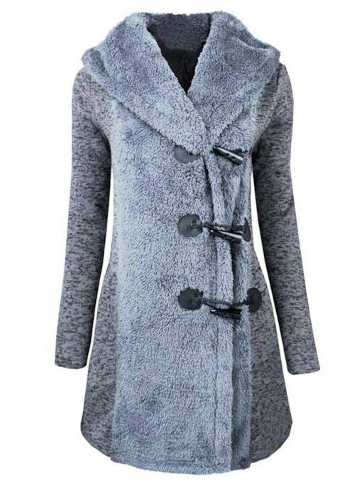 Faux Fur Horn Button Hooded Women's Overcoat