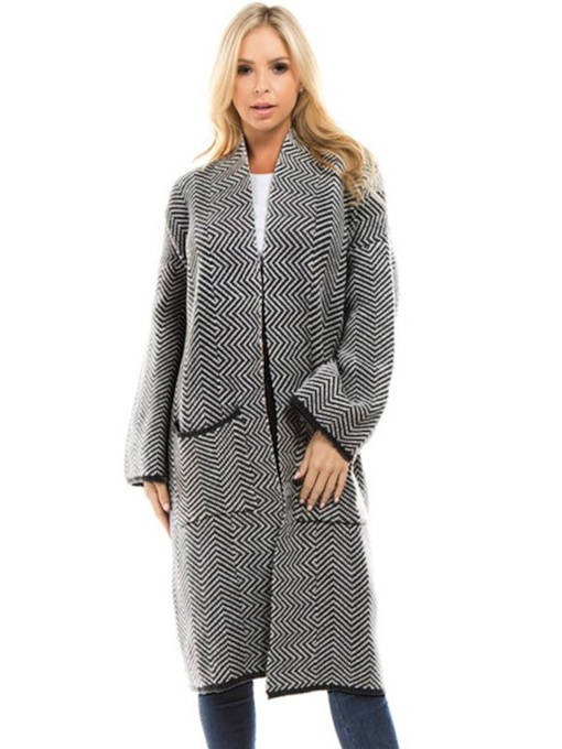 Houndstooth Wide Pocket Mid Length Women's Cardigan