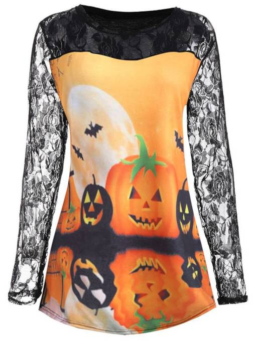 Halloween Lace Patchwork Color Block Women's Sweatshirt
