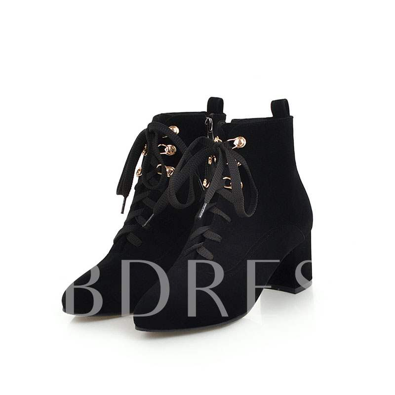 Buy Suede Chunky Heel Plain Casual Round Toe Cross Strap Ankle Boots, Spring,Fall,Winter, 13429201 for $49.12 in TBDress store